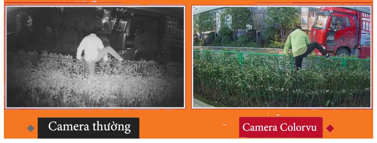So sánh hình ảnh buổi tối của Camera thường và Camera ColorVu