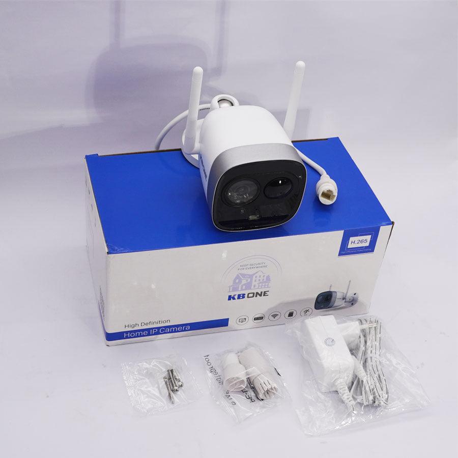 Trọn bộ Camera IP Wifi KBONE KN-2003WN PIR 2.0 Megapixel, F2.8mm, tích hợp mic, MicroSD tối đa 128GB, kết nối Wifi