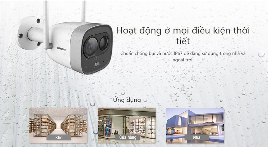 Camera IP Wifi KBONE KN-2003WN PIR 2.0 Megapixel, F2.8mm, tích hợp mic, MicroSD tối đa 128GB, kết nối Wifi