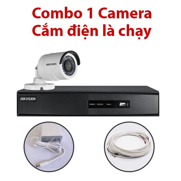 Trọn bộ 1 Camera DS-2CE16C0T-IR + Đầu ghi hình HIKVISION, có sẵn phụ kiện, cắm điện là chạy