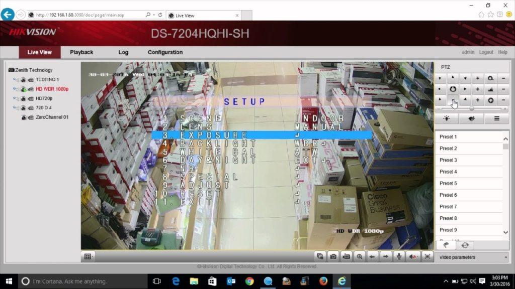 Hình ảnh của Menu OSD trên camera Hikvision sau khi được BẬT