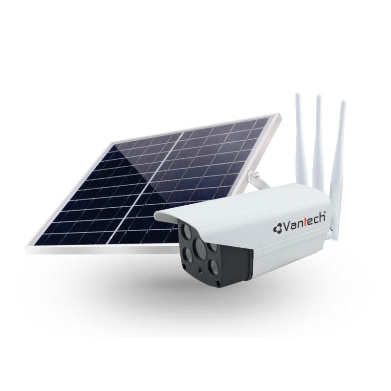 Camera IP wifi AI Vantech V2034 2.0 Megapixel, dùng năng lượng mặt trời, kết nối 4G, MicroSD, P2P
