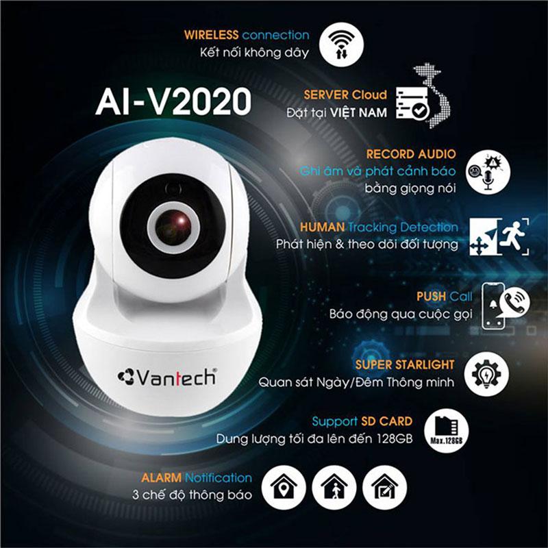 Camera wifi robot Vantech AI-V2020 ( thông minh trí tuệ nhân tạo) 2.0 Megapixel, báo động, theo dõi chuyển động thông minh