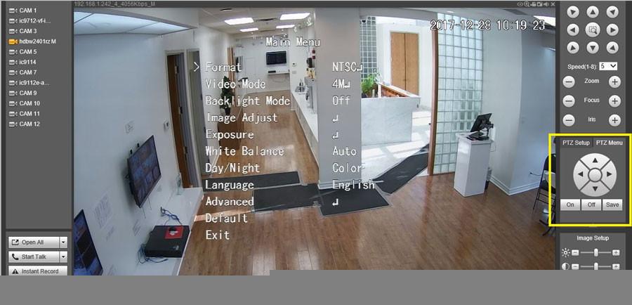 Màn hình chính khi xem camera Dahua đã xuất hiện menu OSD