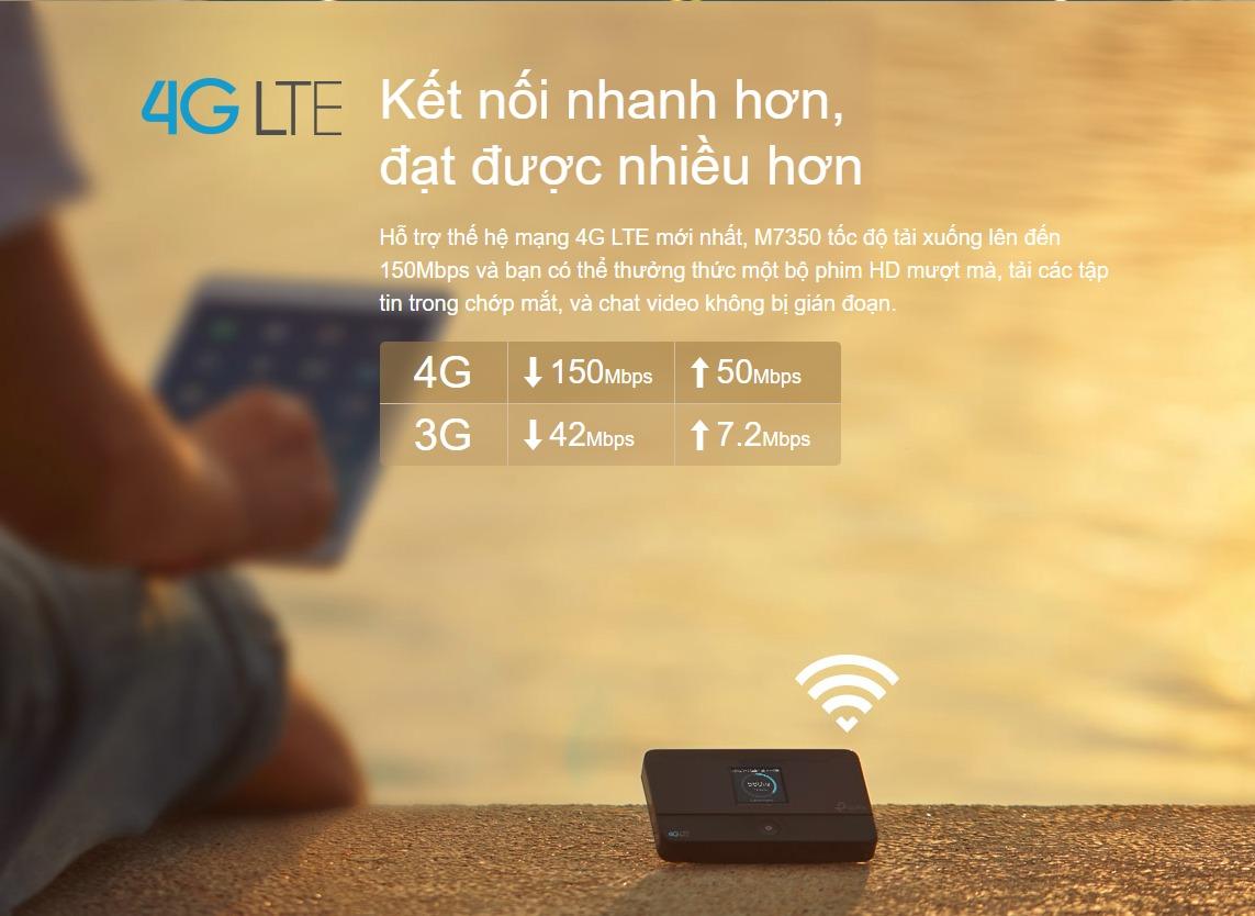 Bộ phát wifi di động 4G Lte Tplink M7350 được thiết kế vô cùng nhỏ gọn